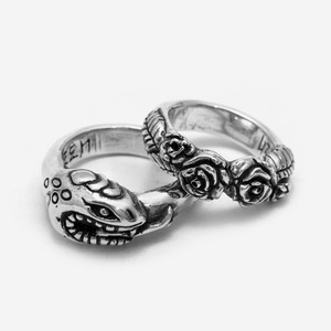 [커플링 추가할인] Snake & Rose Couple Silver Rings