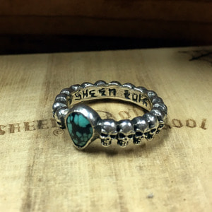 Small Skull Complex Ring w/Turquoise 22호